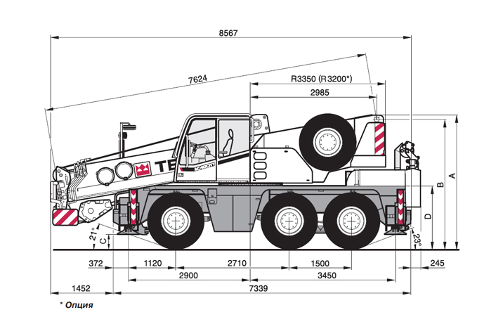 Габариты Terex Demag AC 40 City