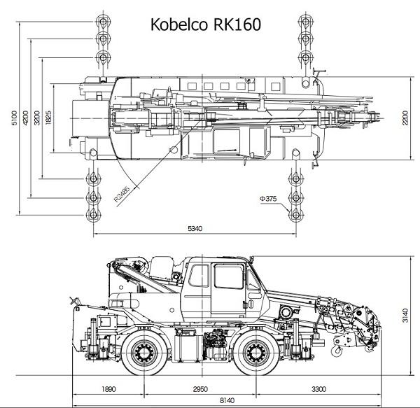 Габариты Kobelco RK160
